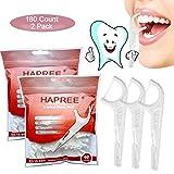 Hapree 180 Count Raccoglie filo interdentale, multifunzione Includi stuzzicadenti, selettore di denti, spazzola interdentale, raschietto per lingua, approvato dalla FDA (confezione da 2)