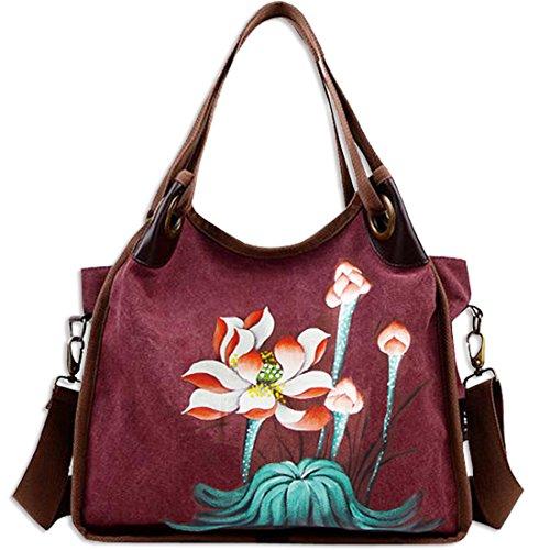 KAXIDY Damentasche Shopper Umhängetasche Lehrerhandtasche Handtasche Schultertasche (Violett rot) Violett rot