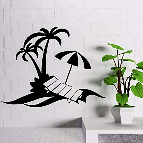 Vinyl Stickers Palm Beach Vacations Relax Wall Stickers Home Decoration Tropical Style Decor Beachside Window Art Mural57x43cm