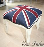 Casa Padrino Barock Fußhocker Union Jack / Creme - Hocker Englische Flagge Antik Stil England