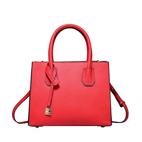 Dissa Q0871A Damen Leder Handtaschen Satchel Tote Taschen Schultertaschen Rot