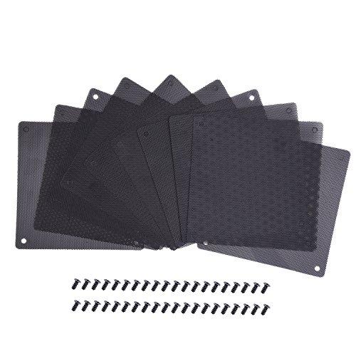 120 mm Staub Filter Computer Ventilator Filter Kühler PVC Schwarz Staubdicht Hülle Decke Computer Mesh 10 Packungen mit 40 Stück Schrauben (Computer-ventilator-mesh)