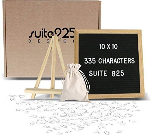 Suite 925 Design Letter Board - Changeable Felt 10x10 inch Wooden Message Sign with 335 Letters Numbers Emojis Oak Wood Frame Mounting Hook Canvas Bag Bonus Stand, Easel Perfect Gift