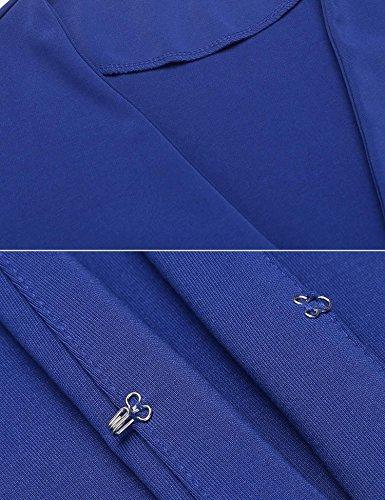 Chigant Damen Elegant Blazer 3/4 Arm Kurzjacke Tailliert Cardigan mit Trompetenärmel Königsblau