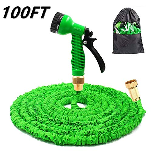 Tuyau Arrosage Extensible 100 Feet Expandable Hose With Brass Connectors, 7 Pattern Spray Nozzle And High Pressure, Expanding Garden Hose (100FT, Vert)