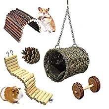 MQFORU Hamster Chew Toys Wooden Little Pet Toys Cage Toys Hammock Nest Swing Bridge Ladder Stairs Climbing Toys for Hamster Squirrel Pig Chinchilla Parrot (5 Pack)
