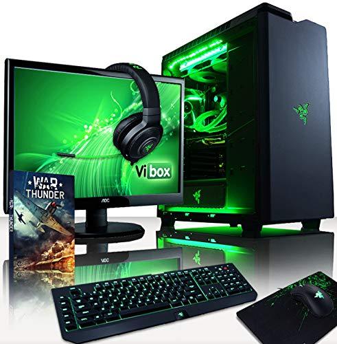 VIBOX Legend 36 Gaming PC Computer mit Spiel Bundle, Win 10 Pro, 27 Zoll HD Monitor (4,2GHz Ryzen 6-Core, 2X Dual SLI Nvidia GeForce RTX 2070 Grafikkarten, 32Go DDR4 RAM, 500GB SSD, 3TB HDD)