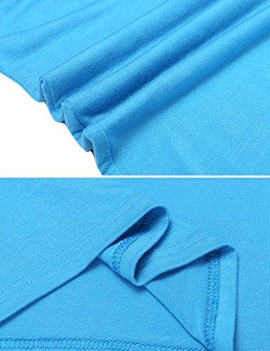 HOTOUCH Damen Sommer Shirt Rückenfrei T-Shirt Tops Bluse mit Kurzarm Typ1-Blau