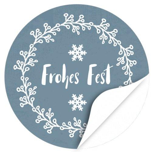 48 Weihnachtsaufkleber Frohes Fest mit Schneeflocke - für Geschenke zu Weihnachten / Sticker / Aufkleber / Etiketten / Rund