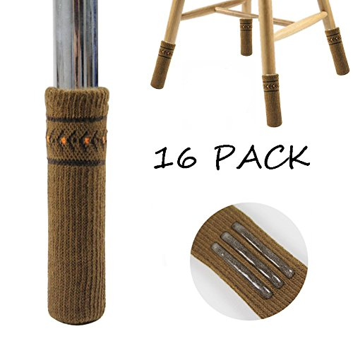 EisEyen Elastisches Möbelsocken, Stuhlsocken Set, Stuhlsocken mit Antirutsch Streifen Innen, Holz Bodenschoner mit niedlichem Design, vertikal gestrickt, reduzieren den Geräuschpegel, 16 Stück (02#) - 7 Stück Esstisch