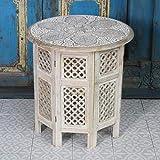 Orientalischer Beistelltisch Haytam Ø 52 cm x H 54 cm groß rund Weiss aus massivholz Mango   Kunsthandwerk aus Marrakesch   Handmade Sofatisch Vintage Couchtisch   NH-5326-B