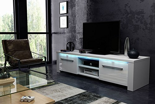 Meuble TV en panneaux de particules, blanc/blanc haute brillance avec éclairage LED bleue - Dim : 140x42x42 cm -PEGANE-