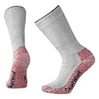 Smartwool Adult Mountaineering Extra Heavy Crew Socks - Gray/Crimson, Large (8 - 10.5)