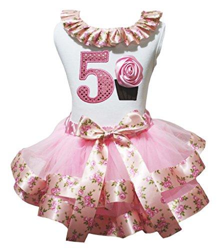 Petitebelle Birthday Dress 5th Cupcake White Shirt Pink Rose Ribbon Petal Skirt Nb-8y (4-5 Jahr) (Cupcake Kostüm Mädchen)