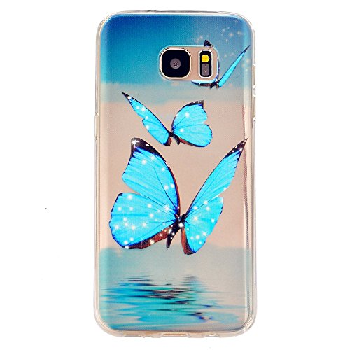 TKSHOP Custodia per Samsung Galaxy S7 Edge Case Cover sottile Morbido Flessibile TPU Silicone Trasparente Anti-impronte digitali Anti-Scratch Bello Dipinto - blue Butterfly ?Blu Farfalla)
