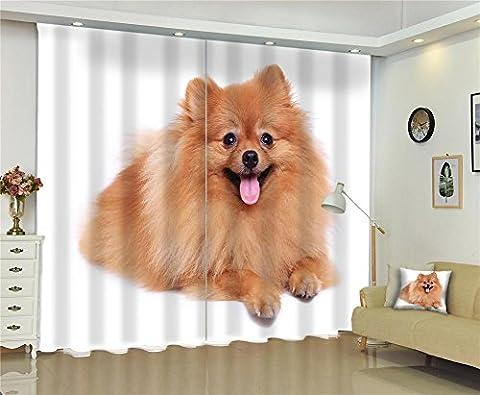 Rideaux 3D Animal Dog Espace visuel Individualité Impression digitale Blackout Doré épais Décoration Fenêtre Drapes , wide 150x high 166 (wide 75x2)
