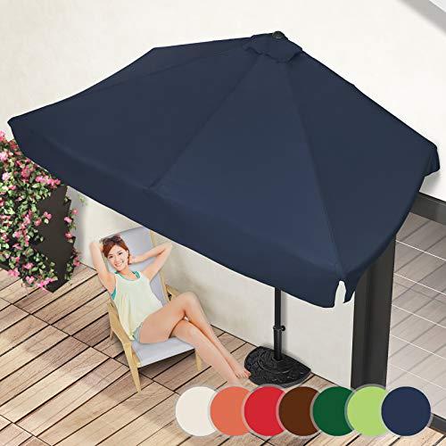 Demi-Parasol Rectangulaire | 228 x 134 cm, avec Manivelle, Protection UV 30+, Polyester, Couleurs au Choix | Demi-Parasol pour Balcon, Terrasse, Jardin (Bleu)