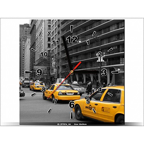 Art-Gallery XXL-30x 30cm-Un Taxi Giallo-cj Isherwood-Orologio da parete lavagna-Deco Moderna-New Design