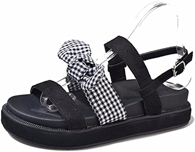 YMFIE Señoras' el verano sweet bow moda antideslizante de fondo plano toe sandalias calzado de playa.39 UE -