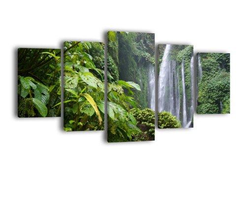 Leinwandbild Dschungel Wasserfall LW115 Wandbild, Bild auf Leinwand, 5 Teile, 210 x 100 cm, Kunstdruck Canvas, XXL Bilder, Keilrahmenbild, fertig aufgespannt, Bild, Holzrahmen, Natur, Urwald, Wasserfall