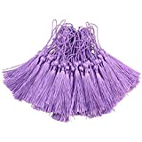 Makhry 100pcs 13cm/5 Inch Silky Floss bookmark Tassels with 2-Inch Cord Loop and Small Chinese Knot for Jewelry Making, Souvenir, Bookmarks, DIY Craft Accessory (Purple)