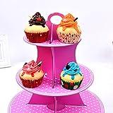 3-Stöckig Karton Etagere Obstteller Gebäckschale Cupcake Ständer Dessert Ständer Törtchen Gebäck Muffin Obst Halter für Party, Geburtstag, Hochzeit, Weihnachten - 2