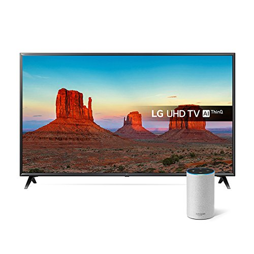 LG 65UK6300PLB 65-Inch UHD 4K HDR Smart LED TV with Freeview Play - Black (2018 Model) with All-new Amazon Echo (2nd generation), Sandstone Fabric Bundle
