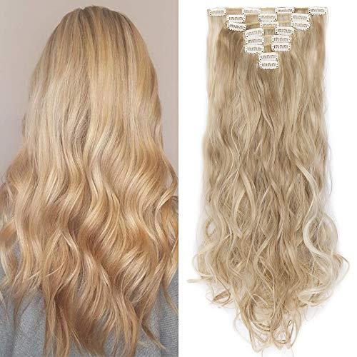 "TESS Clip in Extensions wie Echthaar Haarteile günstig Haarverlängerung 8 Tressen 18 Clips Ombre Haarteil Gewellt 24""(60cm)-140g Honigblond/Blond"