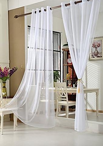 WOLTU VH5510ws - 1 pièce Rideaux voilages transparent à oeillets, Douceur d'intérieur pour fenêtre, 140x245 cm, Blanc