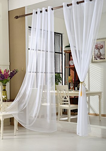 WOLTU VH5513ws-2, 2er Set Gardinen Vorhänge transparent mit Ösen Stores, Doppelpack Ösenvorhang Fensterschal Voile für Wohnzimmer Schlafzimmer Landhaus, 140x225 cm Weiß - Vorhänge Für Wohnzimmer-sets