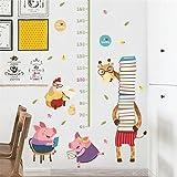 Weaeo Niños Medir Altura Wall Sticker For Kids Habitaciones 3D Gráfico De Crecimiento De Cerdos Vivos Jirafa Pizarra Vinilos Adhesivos Murales Póster De Arte