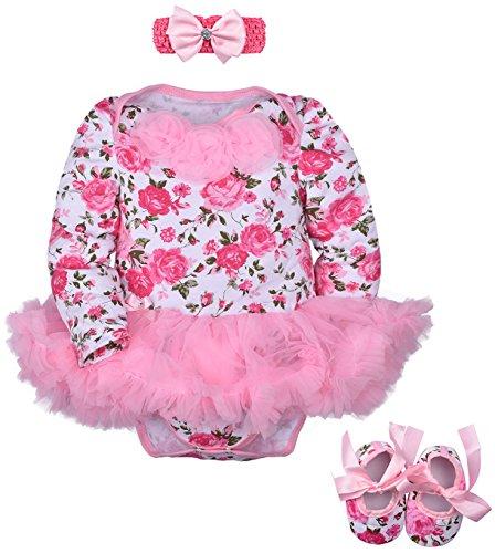 ZOEREA 3pcs Sätze Newborn Baby-Stirnband + Romper + Schuhe Outfit Kleidung Tutu-Kleid-Sommer-Set (0-24M) (Eingefroren Mädchen Kleider)