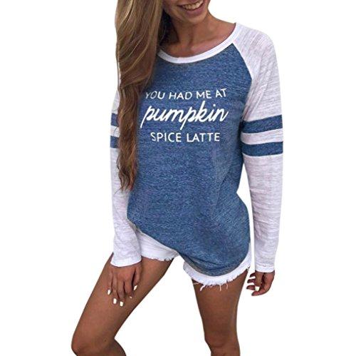 Koly donne plus size tops manica lunga camicetta di ringraziamento patchwork stampa girocollo pullover miscela del cotone moda t-shirt patch manica allentata casuale sciolto maglietta (blue, xl)