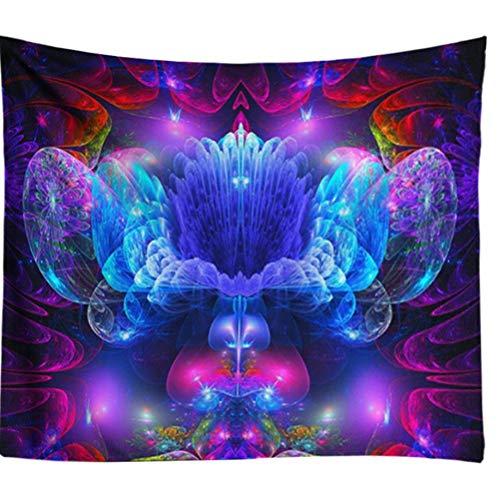 Zbzmm Blaue Ombre Blumen psychedelische Mandala Hippie Wand Stoff Tapisserien Wandbehang Boho Dekor abstrakte Wandkunst -
