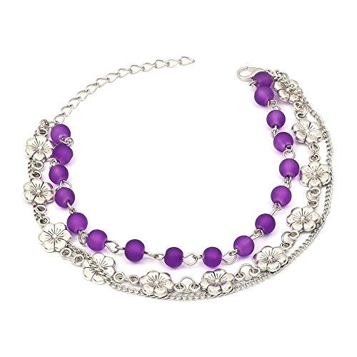 Cavigliera con perline viola fluorescenti ciondoli forma di fiori e tripla catenina