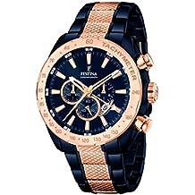 39f43537f051 para Hombre Festina Reloj Infantil de Cuarzo con Esfera Azul cronógrafo y  Correa de Acero Inoxidable