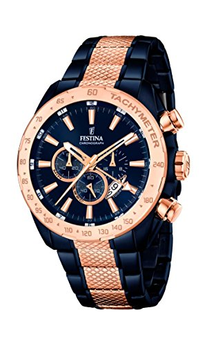 Festina Men's Quartz Watch with Blue Dial Chronograph Display and Multicolour Stainless Steel Plated Bracelet F16886/1