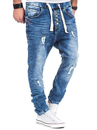 L.A.B 1928 Herren Jogg Jeans Hose Sweatpants Joggjeans Vintage Knittereffekte Destroyments Used Look LAB-250 Blau