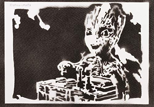 Baby Groot Guardians Of The Galaxy Poster Plakat Handmade Graffiti Street Art - ()
