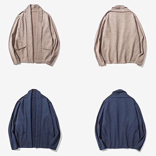 Zhhlinyuan Mode Men's Gentleman Shawl Collar Cardigan No Button Outerwear Khaki