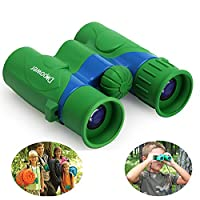 DFlamepower Shock Proof 6x21 Children's Binoculars Set - Compact Mini Rubber Telescopes for kids Bird Watching - Educational Learning - Hunting - Hiking - Birthday Presents - Gifts for Children - Outdoor Play - Toys for Boys and Girls