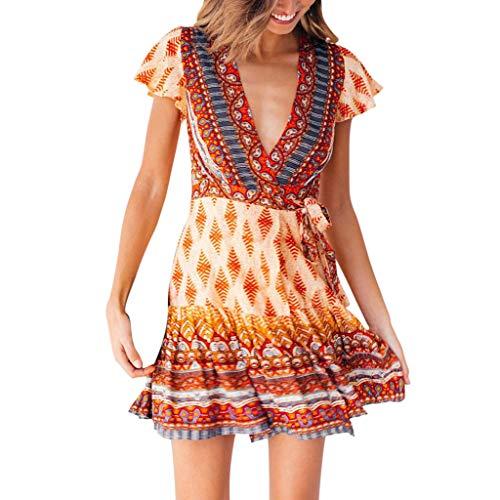 9bc428d2bce5 Ginli Vestito Donna Eleganti Vestiti da Sera con Maniche Corte Abito Maxi  da Cerimonia con Paillettes