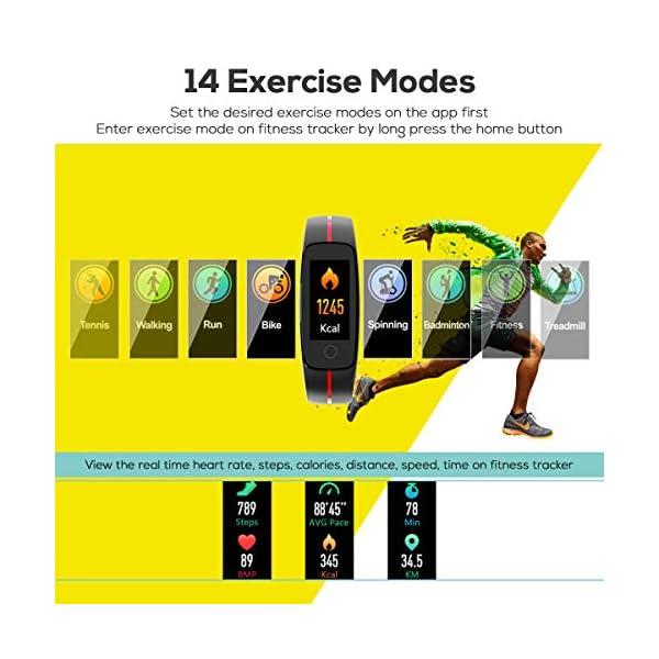 CHEREEKI Pulsera Actividad, Fitness Tracker IP68 Impermeable Monitor de Frecuencia Cardiaca 14 Modos de Ejercicio/Control de Música/Cronómetro/Recordatorio Sedentario/SMS Push 4