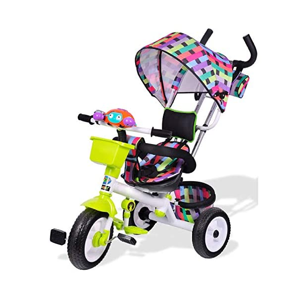 3 In 1 Childrens Tricycles 12 Months To 6 Years 3-Point Safety Belt Kids Tricycle Rear Wheel With Brake Folding Sun Canopy Child Trike Maximum Weight 30 Kg Birthday Present,Green BGHKFF ★Material: Steel pipe, suitable for children aged 1-6, maximum weight 30 kg ★ 3-in-1 multi-function: convertible into stroller and tricycle. Remove the hand putter and awning as a tricycle. ★Safety design: gold triangle structure; 3-point seat belt + guardrail; rear wheel double brake; safety belt 1