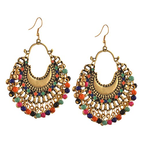 Zephyrr Jewellery German Silver Beaded Chandbali Hook Earrings for Women in 9 colors