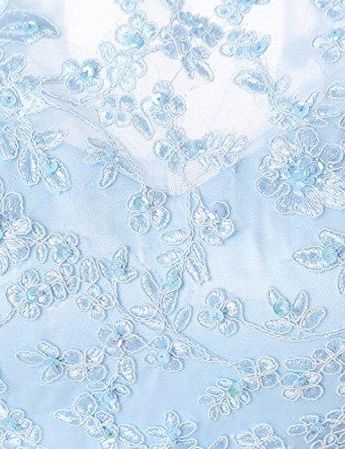 Sarahbridal Damen Tüll Ballkleid Kurz mit Stoffdruck Abendkleider Geblümt Abschlussballkleider SSD361 Grau