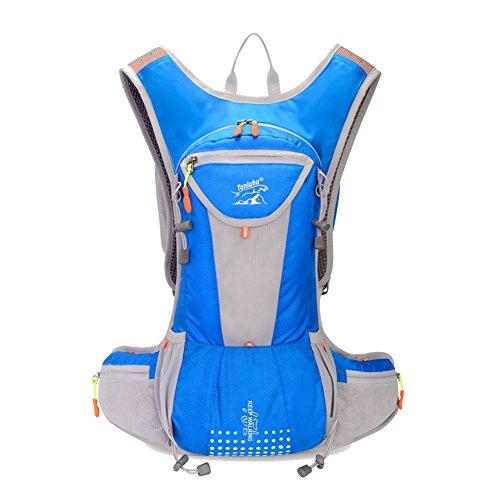 Fahrrad Rucksäcke 12L Groß Volumen Outdoor Schultasche integriert Nacht Sicherheit Reflektierende Streifen Rucksack perfeckt für Radsport Jogging Wanderung Outdoor Sport Skateboard Bergsteigen usw. Blau