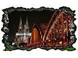 3D Wandtattoo Skyline Köln Brücke Kölner Dom Stadt Bild selbstklebend Wandbild sticker Wohnzimmer Wand Aufkleber 11G689, Wandbild Größe F:ca. 162cmx97cm