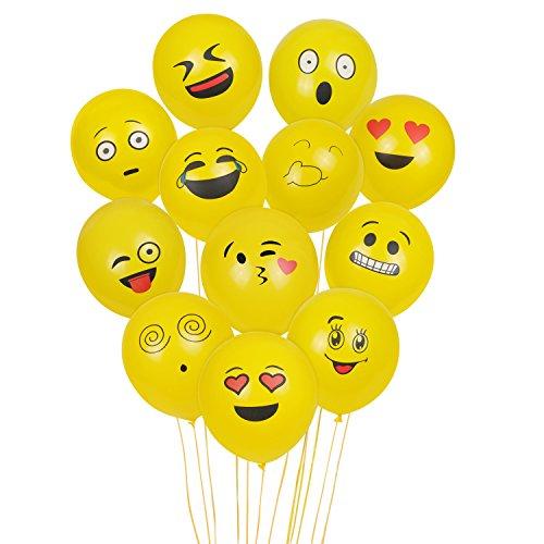 Aookey Emoji Luftballon, 100Pcs Smiley Gesicht Luftballon, Latexballons für Kinder Geburtstagsfeier Supplies Bevorzugungen, Neuheit Hochzeit Veranstaltungen Dekoration Zubehör, Gelb