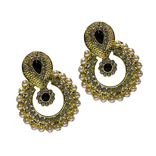 Ramleela Dangle Earring with an Ethnic Look (Black) (UERLET02RD-BK)  available at amazon for Rs.210